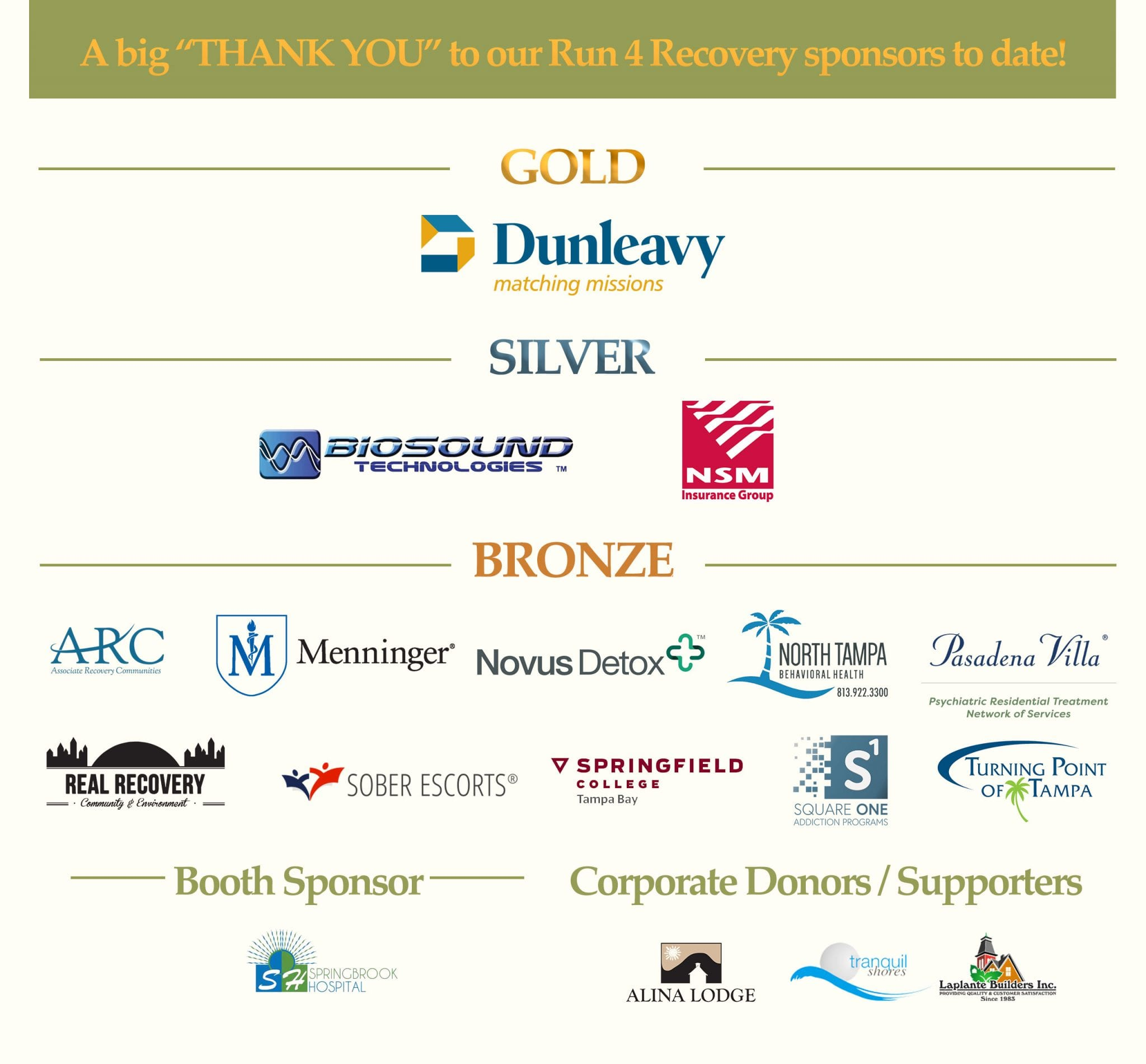2018 Run 4 Recovery Sponsors and Supporters